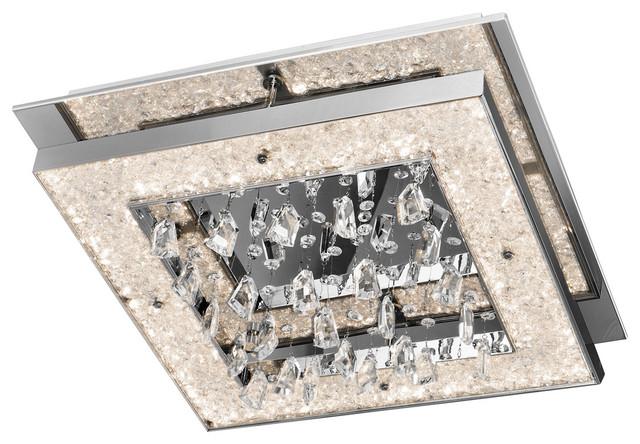 "Elan 83430 Crushed Ice Flush Mounts 20"" Steel, Chrome."