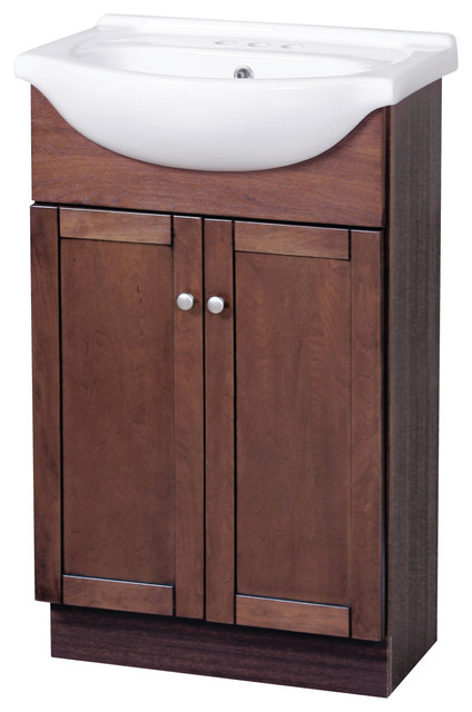 Columbia 22  Cherry Euro Bath Vanity With Vitreous China Vanity Top  transitional bathroom. Shop Houzz   Wolf Bath Columbia 22  Cherry Euro Bath Vanity With