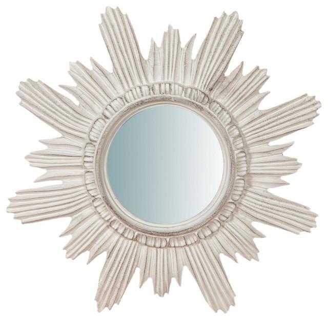 Italian Sun Wall Mirror, White, 45x45 cm
