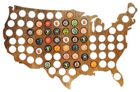 USA Beer Cap Map In Birch Wood Contemporary Wall Accents By - Indiana beer cap map