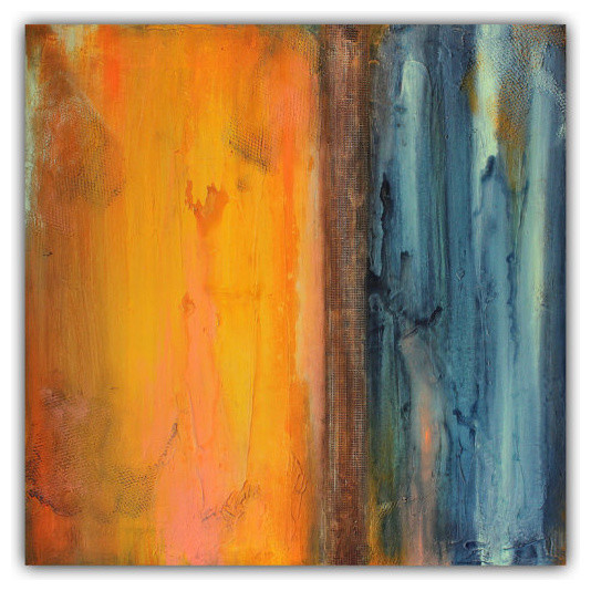 Abstract Orange and Blue Wall Art, Textured Painting - Contemporary ...