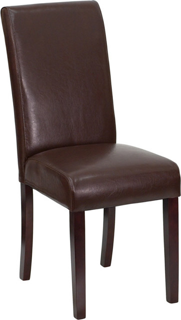 Flash Furniture Dark Brown Leather Upholstered Parsons Chair.