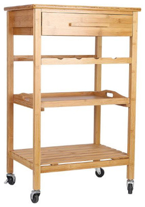 Rolling Bamboo Kitchen Island Storage Bakers Cart Wine Rack W