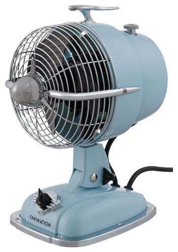 Tall 3 Blade Retro Oscillating Table Fan Baby Blue Contemporary