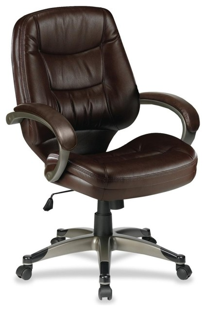 Lorell Westlake Series Mid Back Management Chair, Leather Saddle Seat