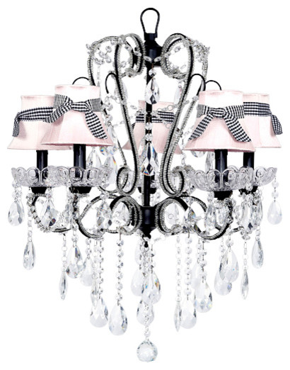 5-Light Black Carousel Chandelier With Pink Shades