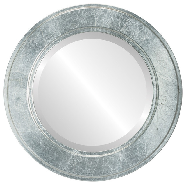 """Montreal Framed Round Mirror In Silver Leaf With Brown Antique, 23""""x23""""."""