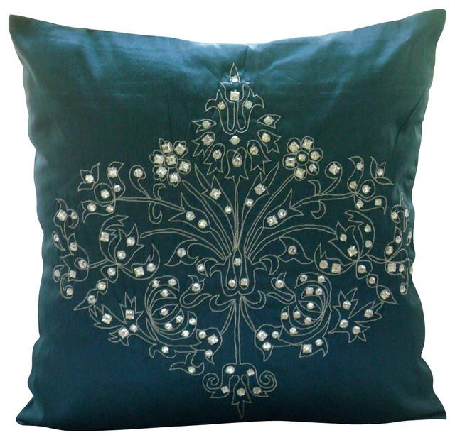 Damask Teal Blue Pillow Cases Art Silk 14 X14 Throw Pillow Cover Teal Damask