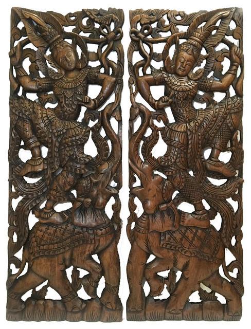 Large Carved Wood Panel, Oriental Home Decor, Set Of 2.