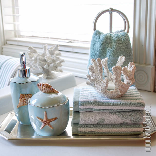seafoam serenity coastal themed bath decor idea  beach style, Home design
