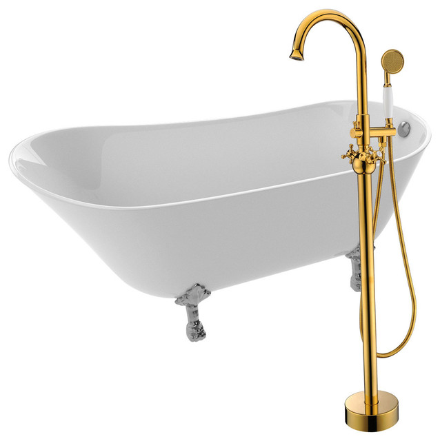 """Anzzi 66.93"""" White Acrylic Clawfoot Bathtub With Gold Faucet."""