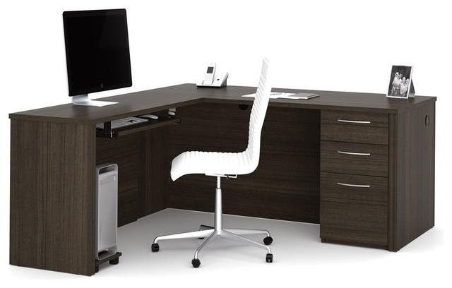 "Embassy 66"" L-Shaped Desk, Dark Chocolate."
