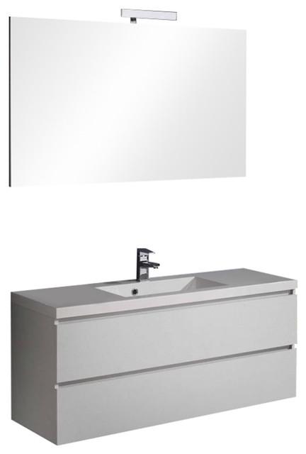 Manhattan Forest White Bathroom Vanity Unit, Simple Mirror, 120 cm