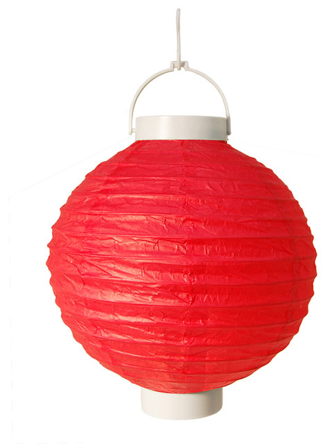 Lumabase Luminarias Battery Operated Paper Lanterns, Set Of 3, Red.