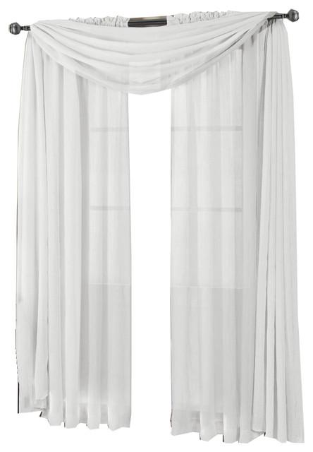 "Abri Rod Pocket Sheer Curtain Panel, White, 50""x96""."
