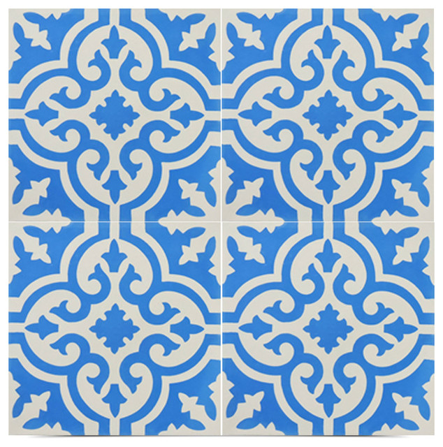 "8""x8"" Argana Handmade Cement Tile, Blue And White, Set Of 12."
