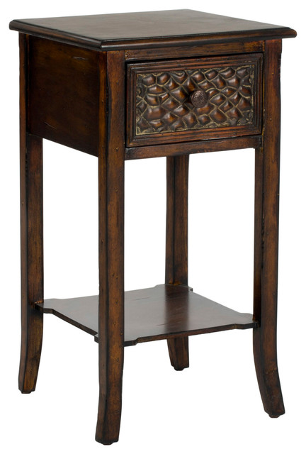 Safavieh Ernest End Table, Dark Brown Traditional Side Tables And End