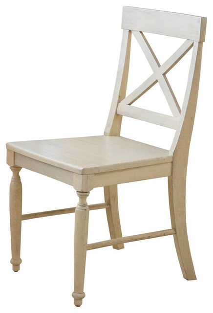 GDF Studio Leyden Antique White Wood Dining Chairs, Set of 2