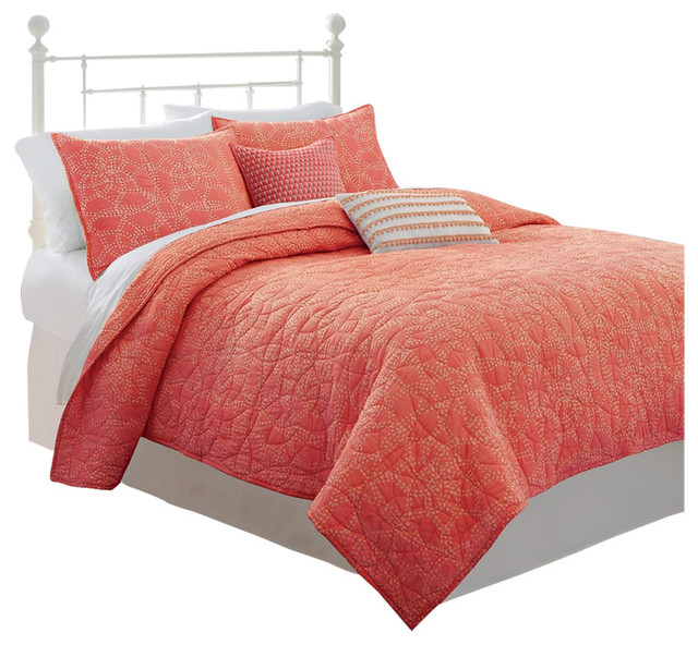 Southern tide lagoon full queen coral quilt beach style for Southern tide bedding