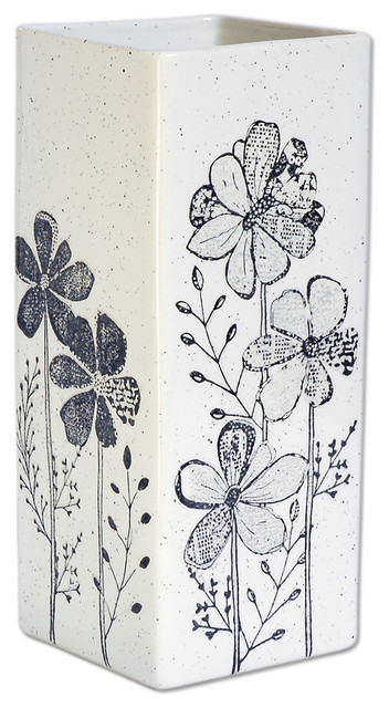 Hand Painted Tall Rectangular Flower Vase - Transitional - Vases - by Museware Pottery LLC  sc 1 st  Houzz & Hand Painted Tall Rectangular Flower Vase - Transitional - Vases ...