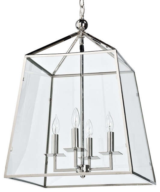 Tesla Industrial Loft Modern Trapezoid Silver Metal Glass Lantern Pendant  sc 1 st  Houzz & Tesla Industrial Loft Modern Trapezoid Silver Metal Glass Lantern ...