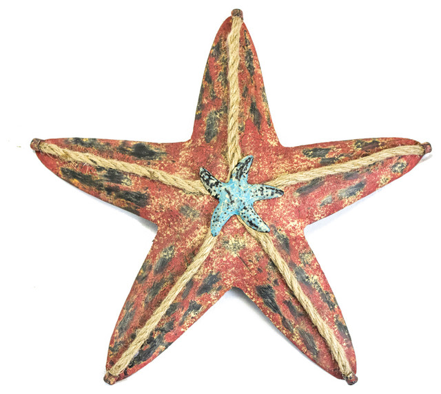 Red Starfish Wall Decor : Oscar starfish large red beach style wall accents