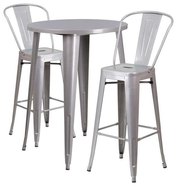 30&x27;&x27; Round Metal Indoor-Outdoor Bar Table Set With 2 Cafe Barstools, Silver.