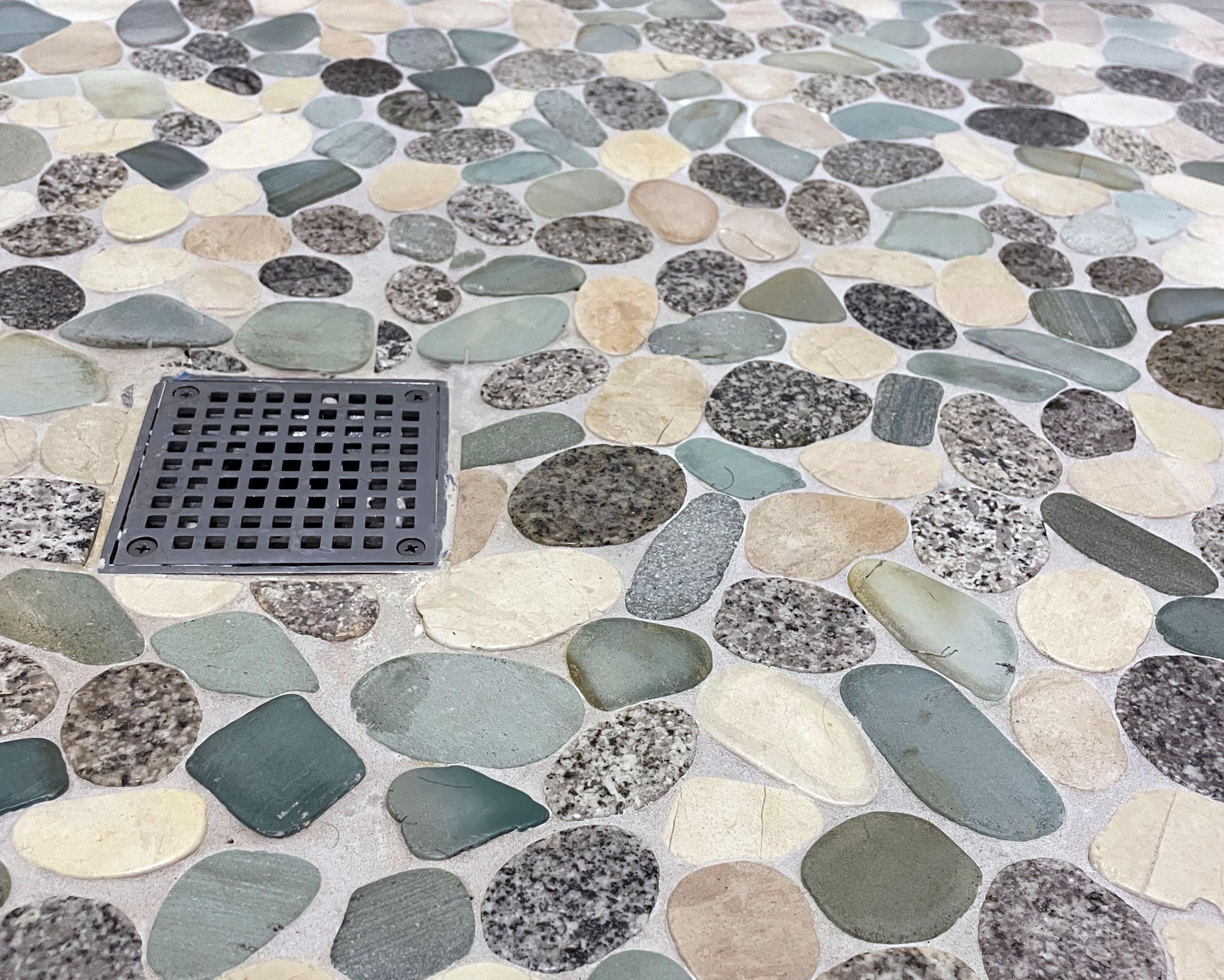 shower natural stone tile floor