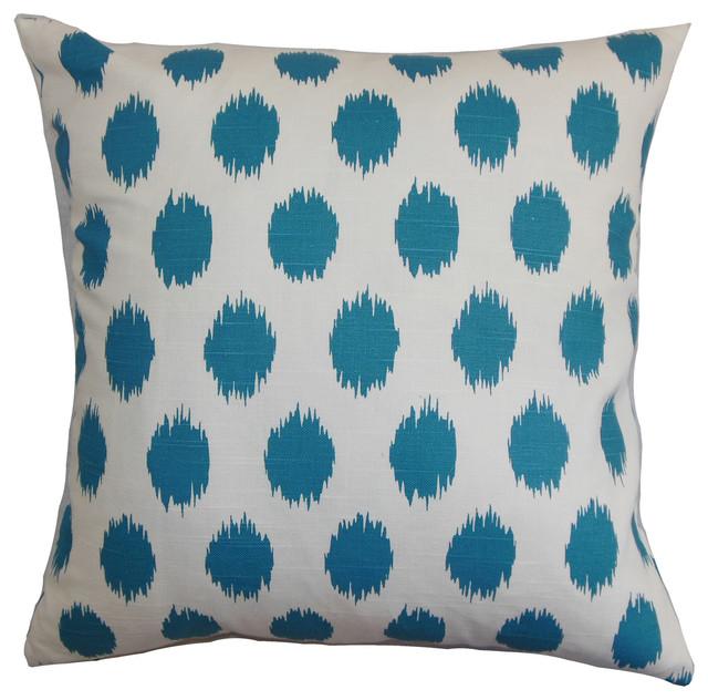 The Pillow Collection Rennice Ikat Dots Bedding Sham Grasshopper Blue Natural Queen//20 x 30