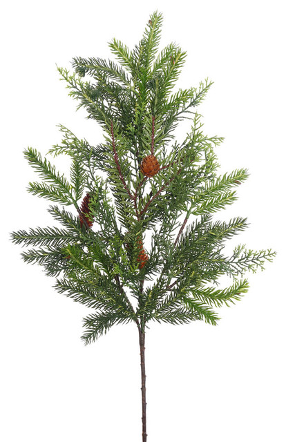 "28"" Cedar, White Spruce Spray With Cones, 30 Tips."