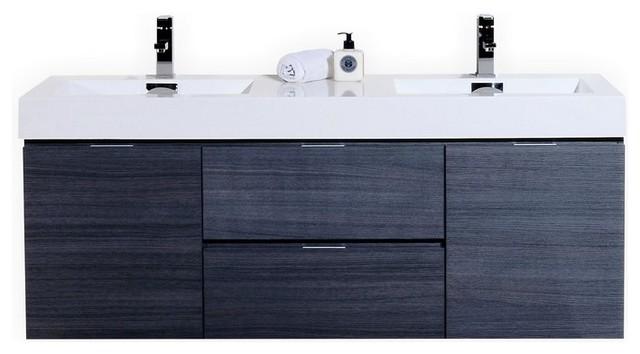 "Bliss 60"" Double Sink High Gloss Gray Oak Wall Mount Modern Bathroom Vanity."