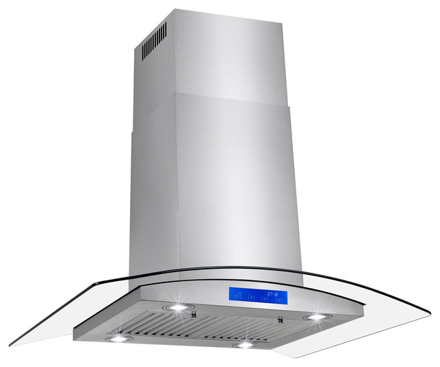 Akdy Stainless Steel Island Mount Range Hood Wwith Tempered Glass Touch Panel, 3.