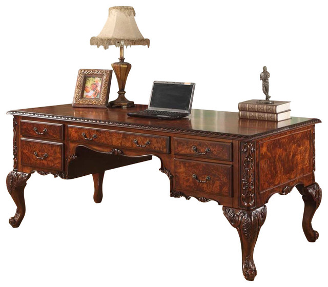Cdexecutive Traditional Office Desk With Hand Carved Designs.