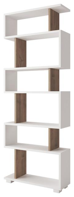 Gia Minimalist Box Bookcase, White And Walnut.