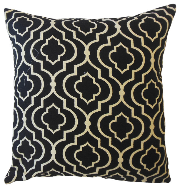 Valmai Geometric Throw Pillow Black Mediterranean Decorative Pillows By The Pillow Collection