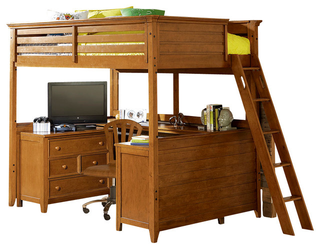 Lea Willow Run Tall Loft Bed With Desk In Rich Toffee