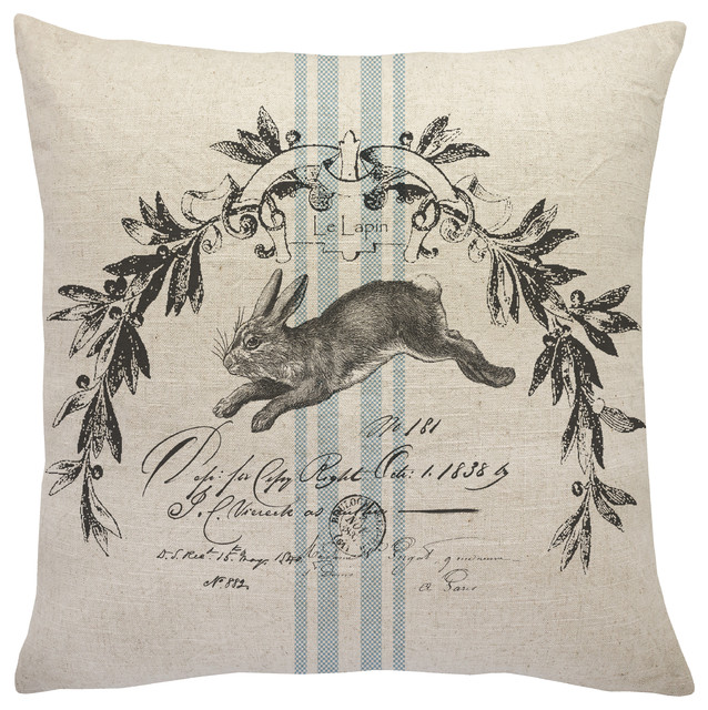 French Bunny Linen Throw Pillow Farmhouse Decorative