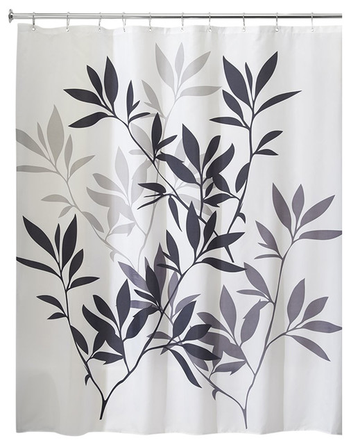 interdesign leaves shower curtain blackgray