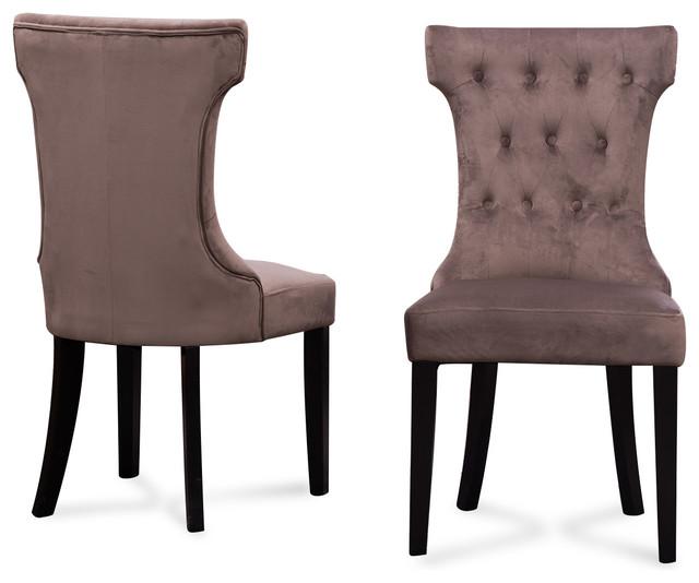 Parsons elegant tufted upholstered dining chair set of 2 for Elegant upholstered dining chairs