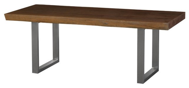 Fine 84 Long Dining Table Merbau Wood Brown Slab Stainless Steel Legs Silver Rectang Gmtry Best Dining Table And Chair Ideas Images Gmtryco