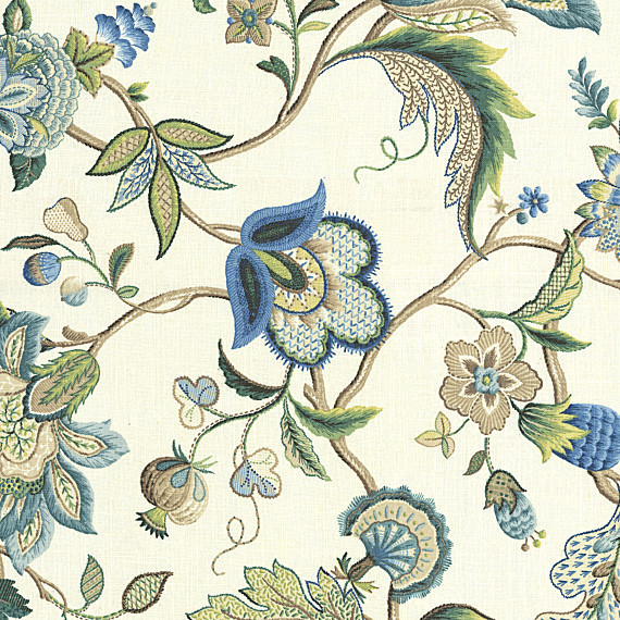 Blue Jacobean Floral Linen Fabric