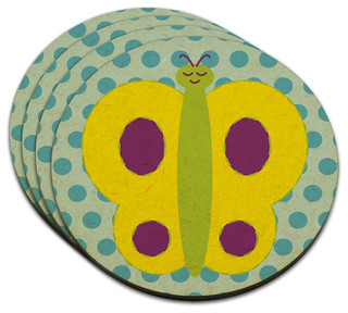 Smiling Butterfly MDF Wood Coaster, Set of 4 - Contemporary - Coasters - by Made on Terra