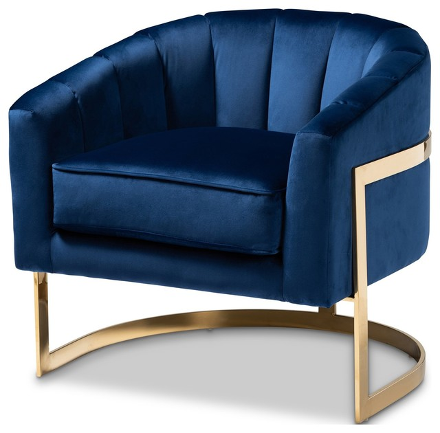 Peachy Baxton Studio Tomasso Glam Royal Blue Velvet Fabric Upholstered Lounge Chair Pabps2019 Chair Design Images Pabps2019Com