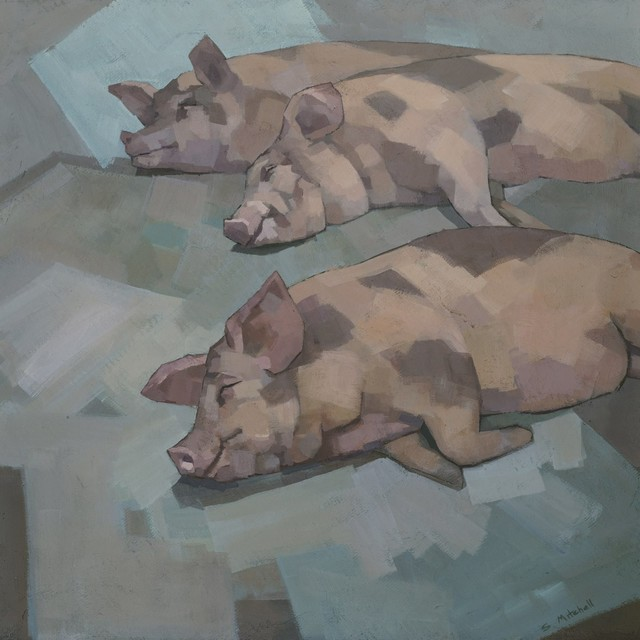 """sleeping Pigs"" Painting Print On Wrapped Canvas, 40""x40"". -1"