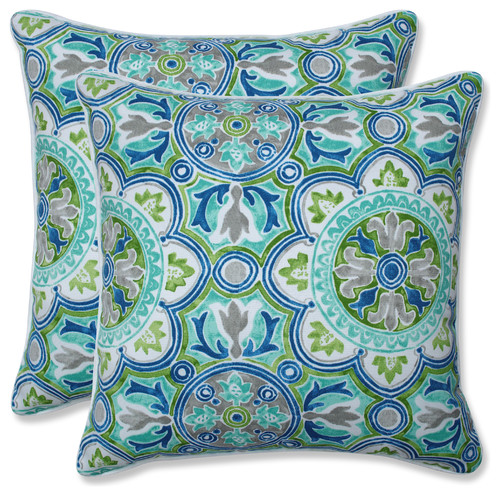 Outdoor/Indoor Lagoa Tile Pool 18.5-inch Throw Pillow (Set of 2)