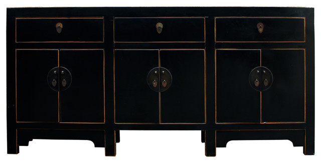 Buffet Table With Storage Underneath ~ Chinese distressed rustic black sideboard buffet table