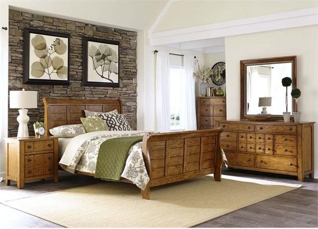 Liberty Furniture Grandpau0027s Cabin 5 Piece King Sleigh Bedroom Set  Transitional Bedroom Furniture