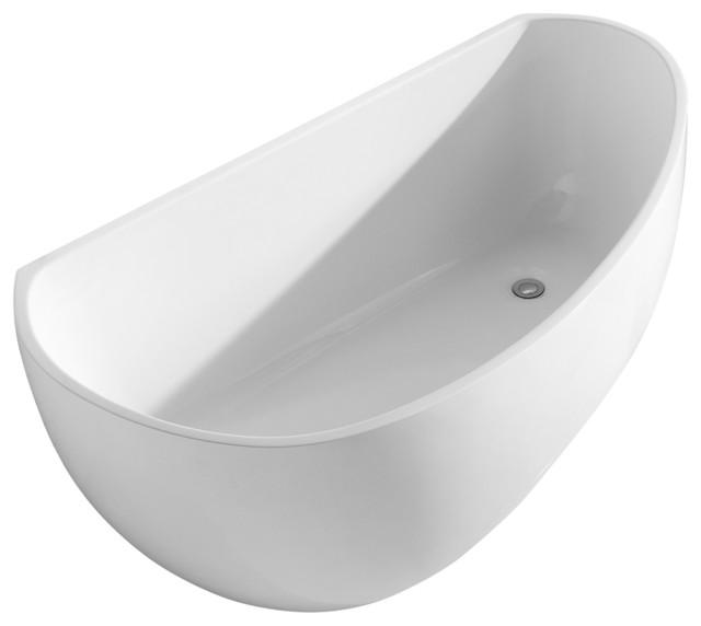 Deslin Modern Acrylic Freestanding Soaking Tub White 67 Modern Ba