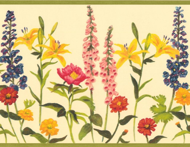 Red Pink Yellow Blue Orange Flowers Butter Floral Wallpaper Border Retro