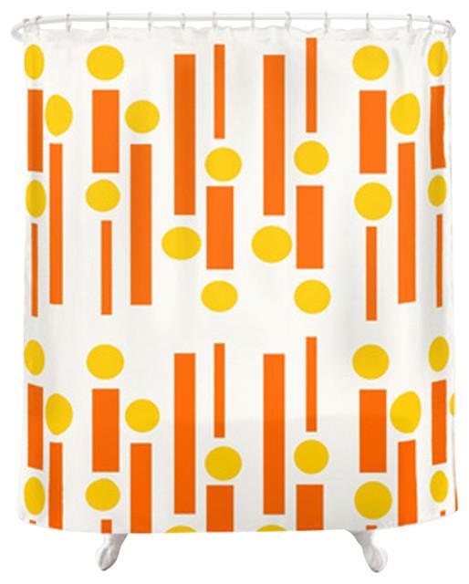 Modern Funky Shower Curtain Orange